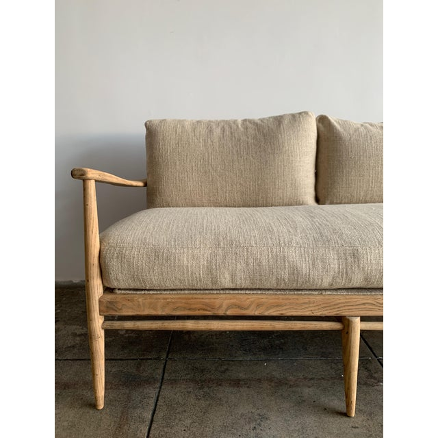 Mid-Century Modern MCM Danish Wood and Woven Cane Couch For Sale - Image 3 of 10