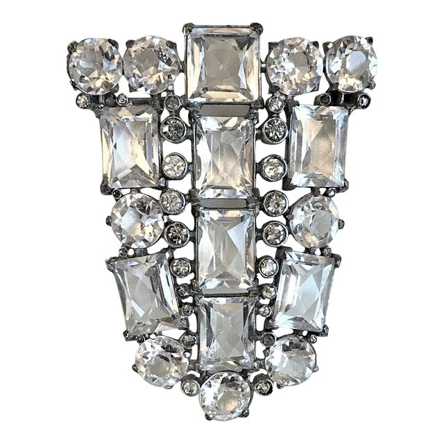 Art Deco Clear Faceted Glass Brooch For Sale