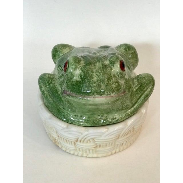 Vintage Mid-Century Italian Ceramic Majolica Frog Lidded Box For Sale - Image 4 of 12