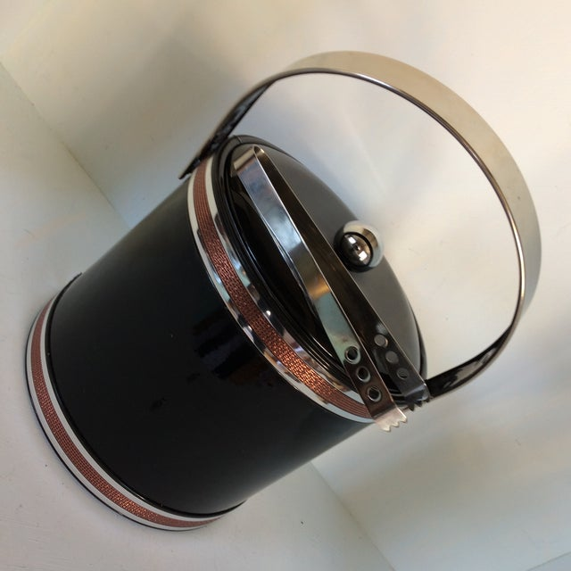 Georges Briard Black Vinyl & Chrome With Copper Tone Bands Ice Bucket and Tongs For Sale - Image 12 of 13