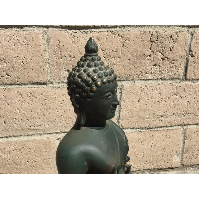 Asian Style Chiang Saen Reproduction Bronze Buddha For Sale - Image 4 of 5