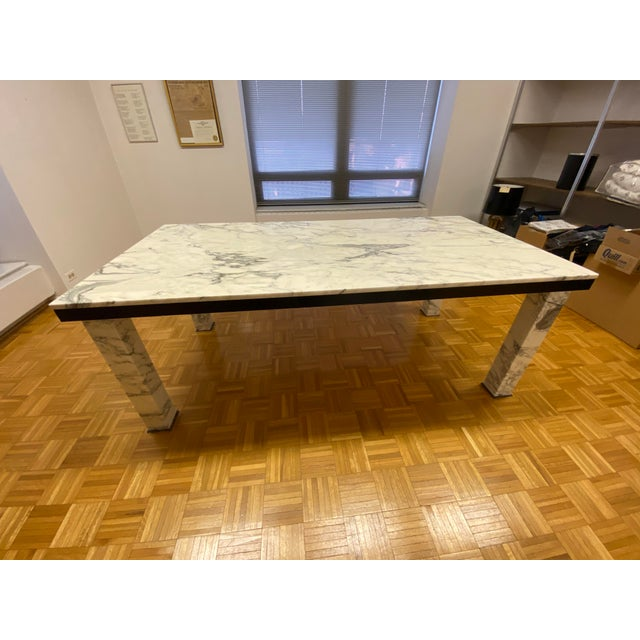 1970s Vintage Calacatta Marble Dining Table For Sale In Chicago - Image 6 of 13