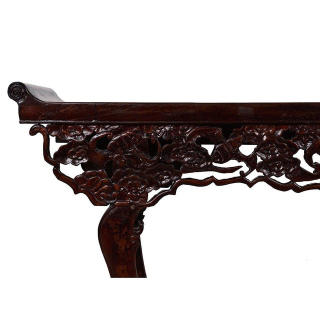 Asian Chinese Antique Open Carved Altar Table For Sale - Image 3 of 10