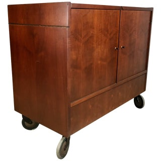 Classic Mid-Century Modern Portable Rolling Fold Out Bar Cart For Sale