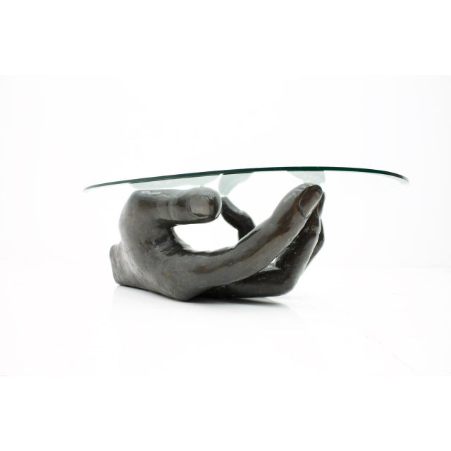 Gold Sculptural Bronze Coffee Table in Form of a Hand Italy 1970s For Sale - Image 8 of 13
