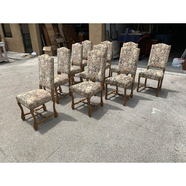 1900s Vintage French Louis XIII Style Os De Mouton Dining Chairs- Set of 10 For Sale - Image 9 of 13