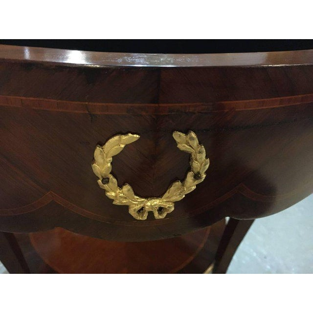 Louis XV Antique Louis XV Style Bronze Mounted Rams Head End or Drum Table For Sale - Image 3 of 8