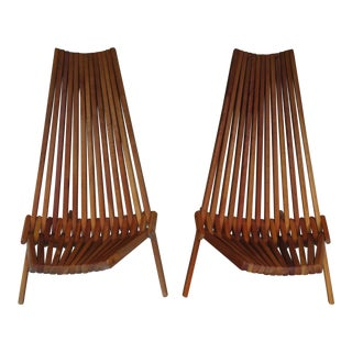 1970s Vintage Folding Hickory Chairs - A Pair For Sale