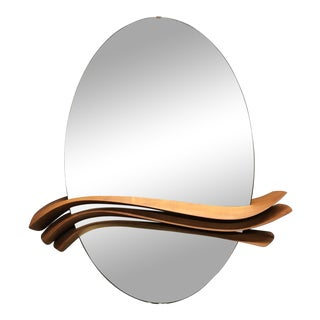 1970s Mid-Century Modern Sculptural Danish Teak Oval Wall Mirror For Sale