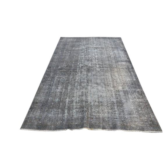 Turkish Gray Overdyed Antique Handwoven Oushak Carpet - 5′4″ × 8′8″ For Sale