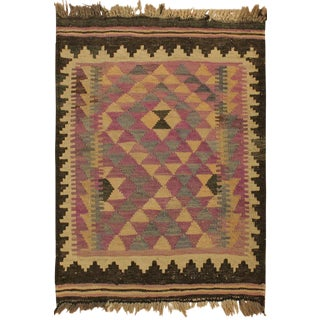 Sammy Purple/Brown Hand-Woven Kilim Wool Rug -2'1 X 2'9