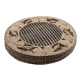 Brown and Cream Round Iraca Fibre Placemats - Set of 8 For Sale