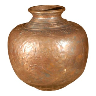 Mid 19th Century Vintage Middle Eastern Turkish Handcrafted Copper Pot For Sale