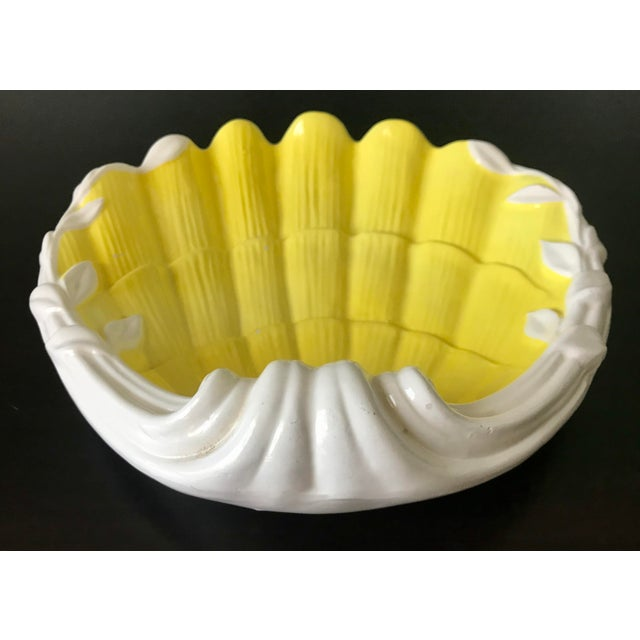 Vibrant vintage Fitz & Floyd yellow and white seashell dish. This is a versatile piece with lovely details and a nice...