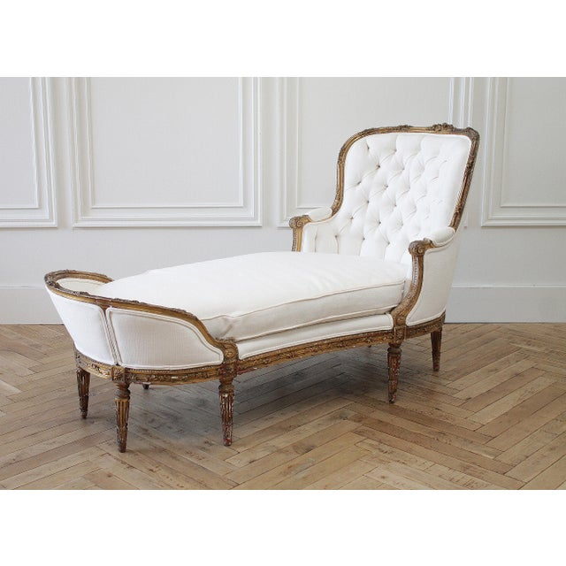 Early 20th Century Carved Giltwood Chaise Lounge With Roses For Sale - Image 13 of 13