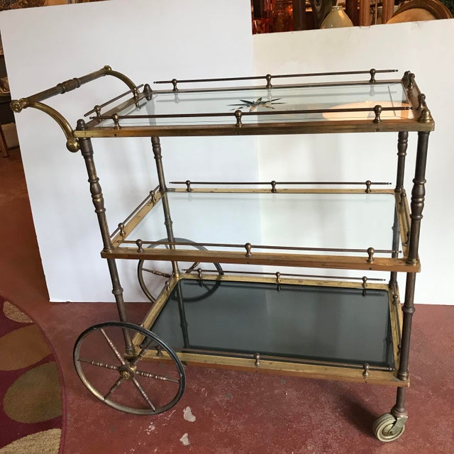 French Bar Cart With Starburst Cut Glass Top For Sale - Image 11 of 12