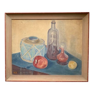 1940s Vintage Still Life Oil Painting For Sale