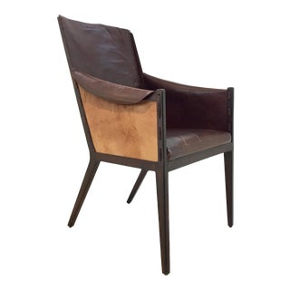 Hickory Chair Transitional Leather and Metal Claude Side Chair For Sale
