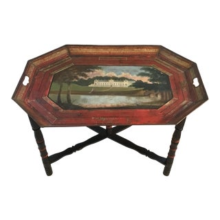 19th C. Scenic Hand Painted Tole Tray Table