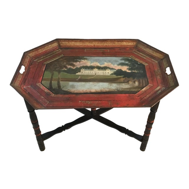 19th C. Scenic Hand Painted Tole Tray Table For Sale