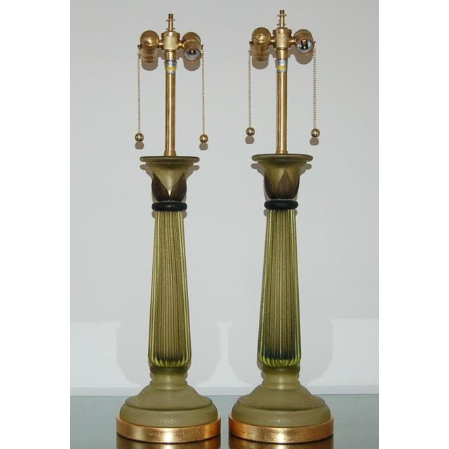 These Venetian column lamps are a classic Marbro design, comprised of four pieces of Murano Acidato glass. The glass is...