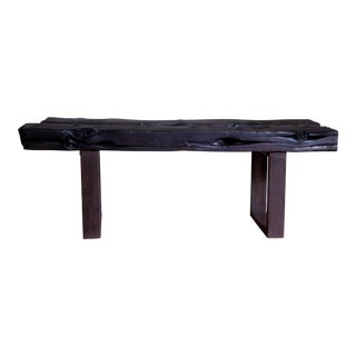 "Artisan Japanese Modern Organic Natural Edge Yakisugi Wood Entry Bed Bench Coffee Table 52"" For Sale"