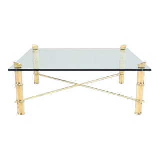 1970s Mid Century Modern Faux Bamboo Large Heavy Cast Brass Square Coffee Table For Sale