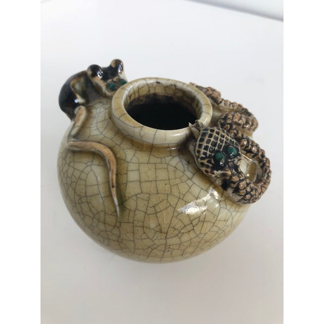 Crackle-Glazed Water-Pot With Applied Snake and Rat For Sale - Image 9 of 11