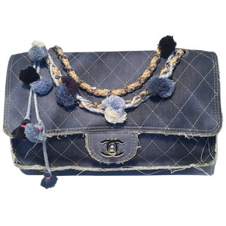 Chanel Paris Dubai Denim Tassel Pom Pom Medium Classic Flap Shoulder Bag For Sale