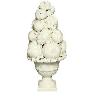 Porcelain Basket of Fruit For Sale
