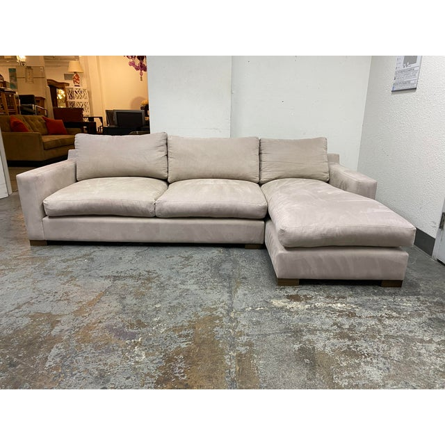 G. Ramono Micro Fiber Down Filled Two Piece Sectional For Sale - Image 12 of 12