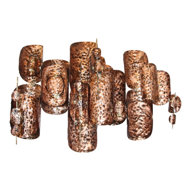 Copper Patinated Brutalist Metal Wall Sculptures- A Pair For Sale