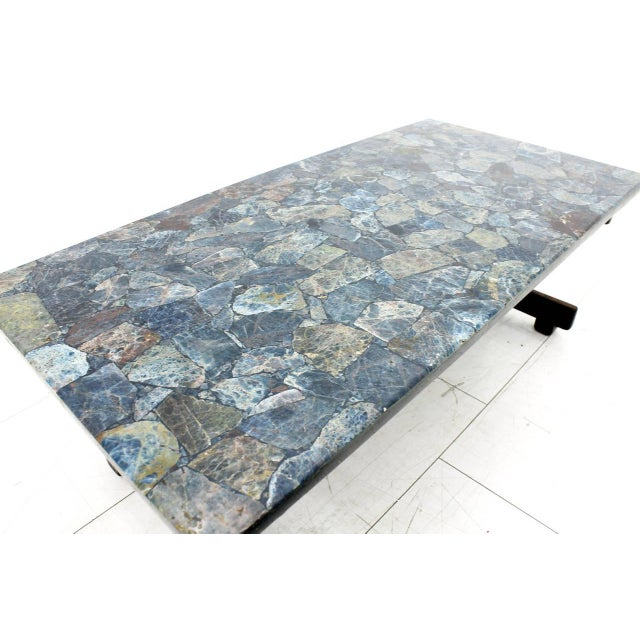 Sergio Rodrigues Rare Sergio Rodrigues Coffee Table With Apatit Stone Mosaic Top, Brazil 1964 For Sale - Image 4 of 10