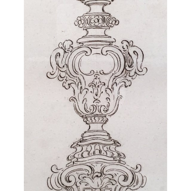 18th Century Italian Pen and Ink Baroque Candlestick Drawing - Image 4 of 6