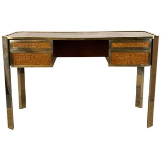 Gucci Style Italian Chrome and Brass Desk For Sale