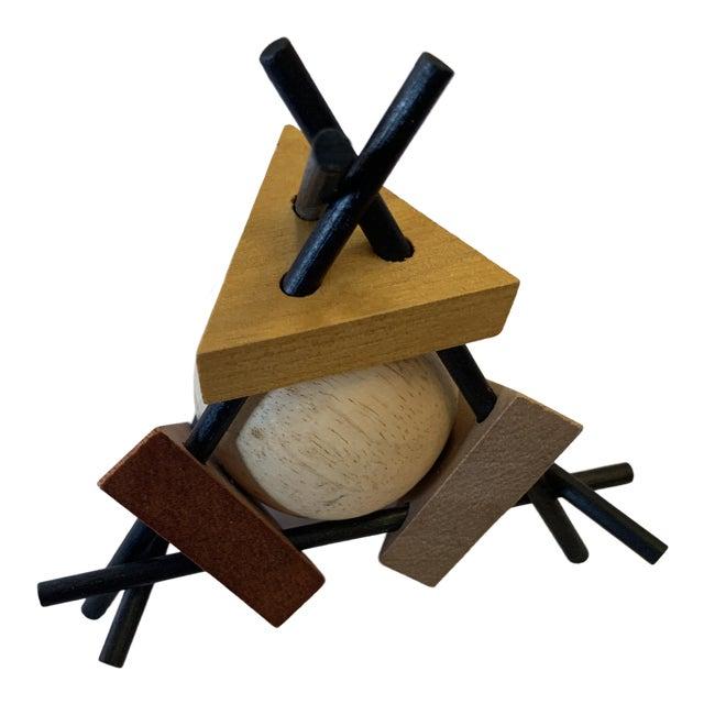 Midcentury Wood Triangular Sculpture For Sale