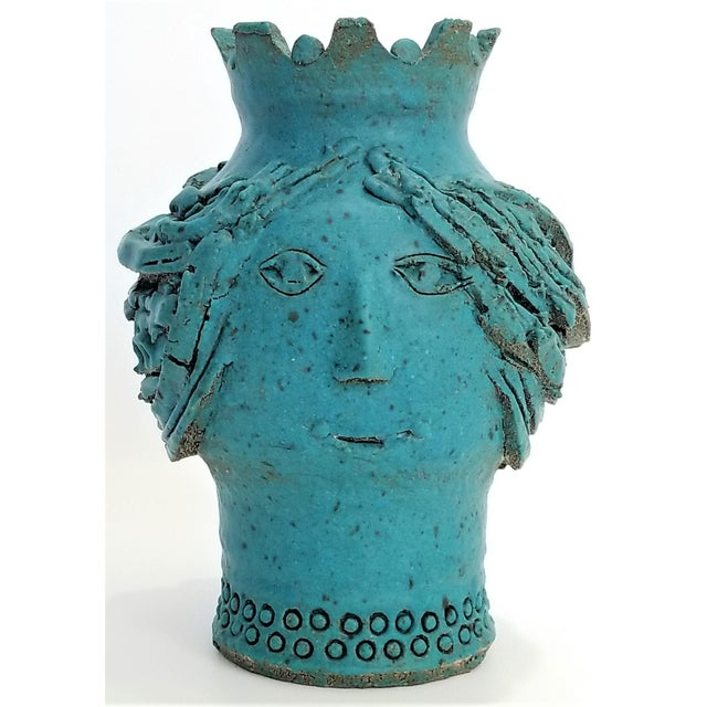 1970s Studio Art Pottery Ceramic Sculpture Blue Vase by Maurice Grossman-Cubist Mid Century Modern Brutalist Boho Face Bust Abstract MCM Art Deco For Sale - Image 13 of 13