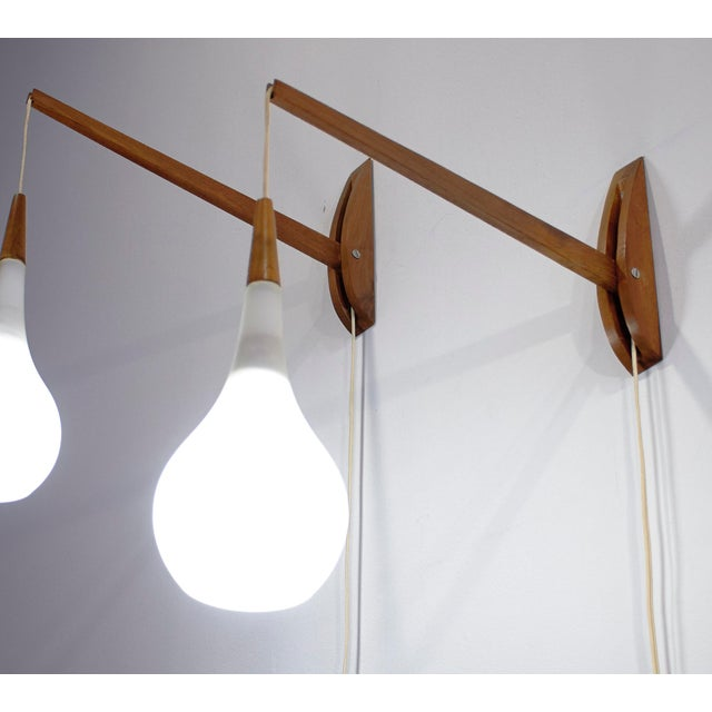 1950s 1950s Vintage Mid-Century Modern Adjustable Wall Sconces - a Pair For Sale - Image 5 of 11