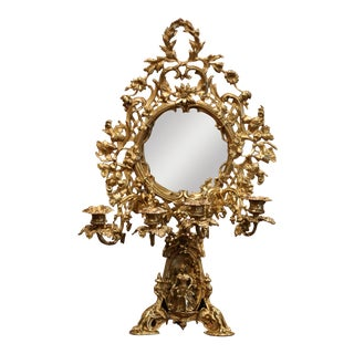 Midcentury French Bronze Foliated and Figural Table Vanity Mirror With Arms For Sale