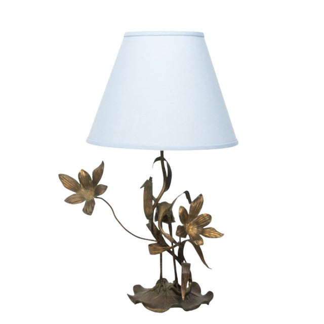 Brass Crane Lamp Circa 1910 With Shade For Sale