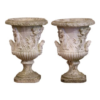 Pair of Early 20th Century French Outdoor Carved Cast Stone Vases