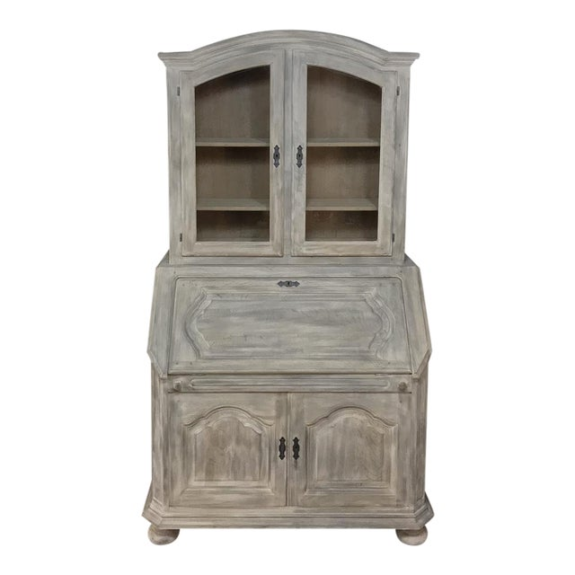 Rustic Antique Country French Whitewashed Secretary ~ Bookcase For Sale