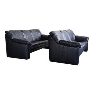 Ekornes Blue Leather Sofa For Sale