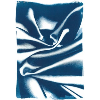 Abstract Wavy Fabric Pattern in Classic Blue, Subtle Gesture Cyanotype Print on Watercolor Paper, 50x70cm For Sale
