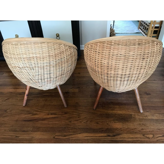 Rattan Barrel Tub Chairs Danish Modern Style With Wood Legs - Pair - Image 6 of 13