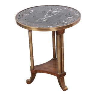 Mastercraft Marble, Brass, and Burl Wood Occasional Table For Sale