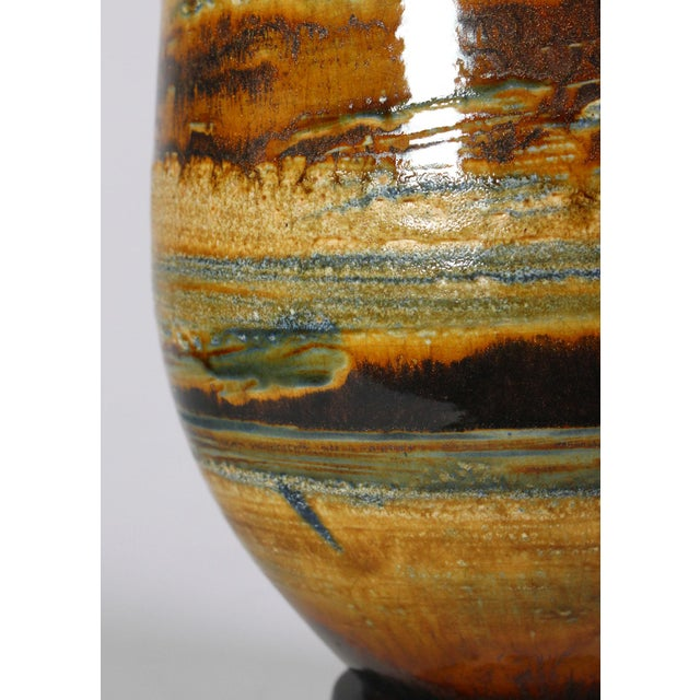 1970's Oversized Drip Glazed Earthenware Studio Pottery Accent Lamp For Sale - Image 4 of 6