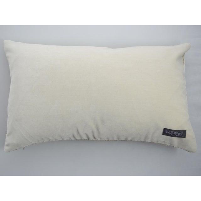 Italian FirmaMenta Cream Lace Linen Velvet Lumbar Pillow For Sale - Image 4 of 5
