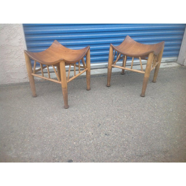 Modern mid century accent stools. Stools are quite unique and in excellent condition. Stools can be used in any room .