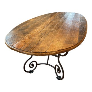 Vintage French Country Large Oval Dining Table For Sale